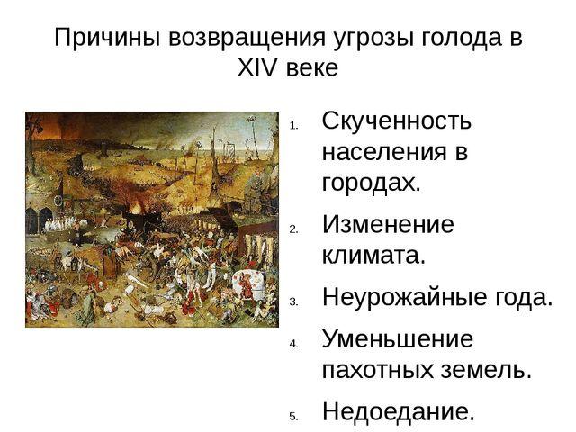Причины возвращения угрозы голода в XIV веке Скученность населения в городах....
