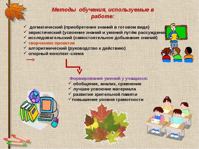 Методы обучения, используемые в работе: догматический (приобретение знаний в...