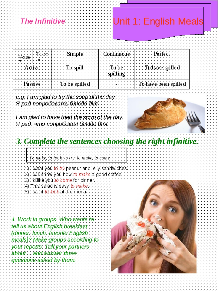 Unit 1: English Meals The Infinitive Voice Tense e.g. I am glad to try the so...