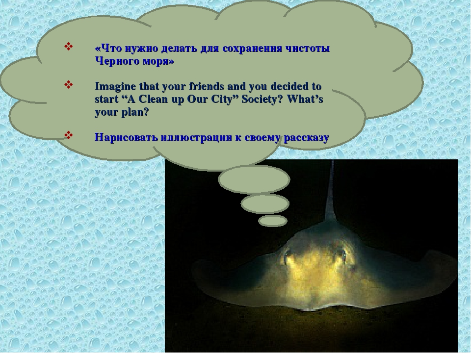 «Что нужно делать для сохранения чистоты Черного моря» Imagine that your fri...