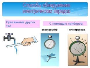 Притяжение других тел С помощью приборов электрометр электроскоп Мой универси