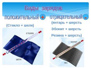 (Стекло + шелк) (янтарь + шерсть Эбонит + шерсть Резина + шерсть) + - Мой уни