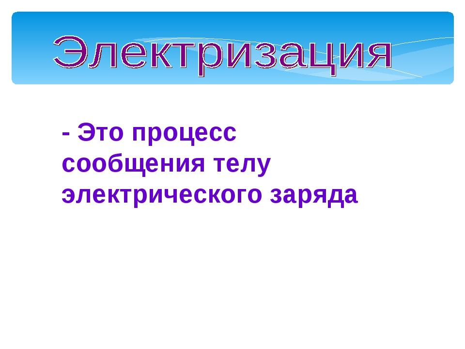 - Это процесс сообщения телу электрического заряда Мой университет- www.edu-r...
