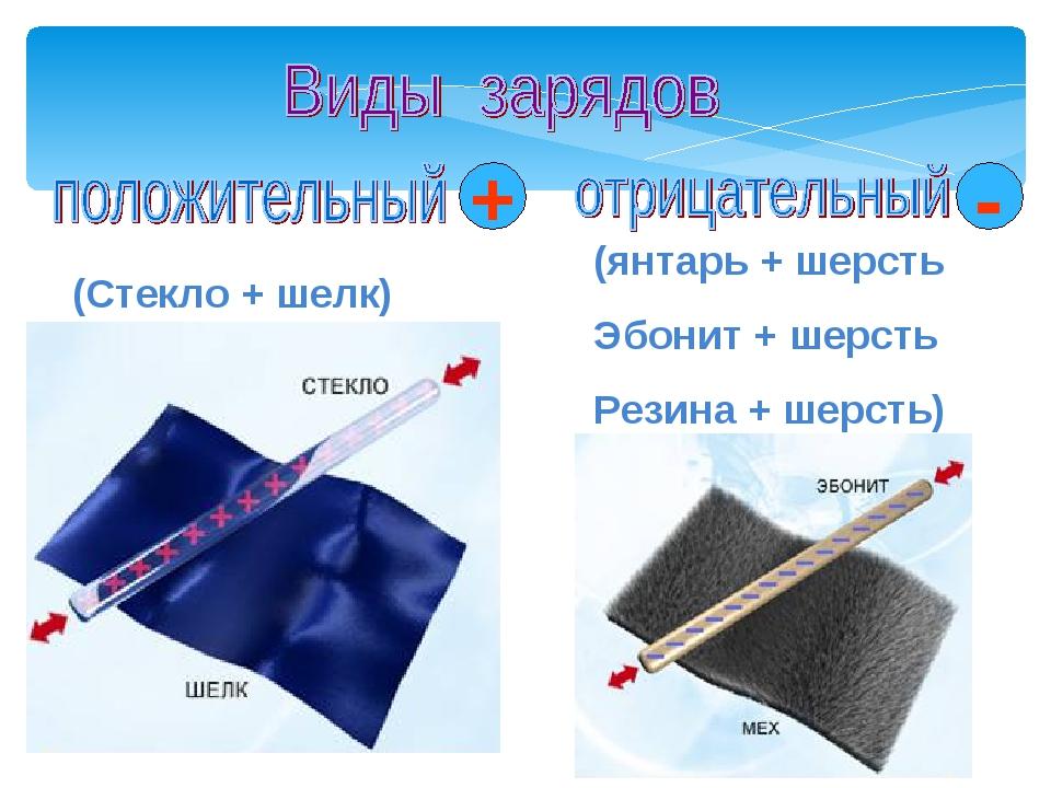 (Стекло + шелк) (янтарь + шерсть Эбонит + шерсть Резина + шерсть) + - Мой уни...