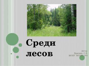 Автор: Едапина С.В. МОБУ МСОШ №3 Среди лесов