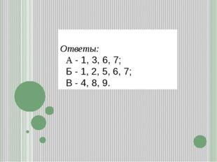 Ответы: А - 1, 3, 6, 7; Б - 1, 2, 5, 6, 7; В - 4, 8, 9.