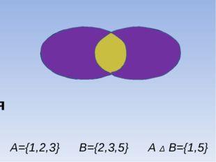 А Δ В={1,5} В={2,3,5} А={1,2,3} АΔВ Симметрическая разность А В