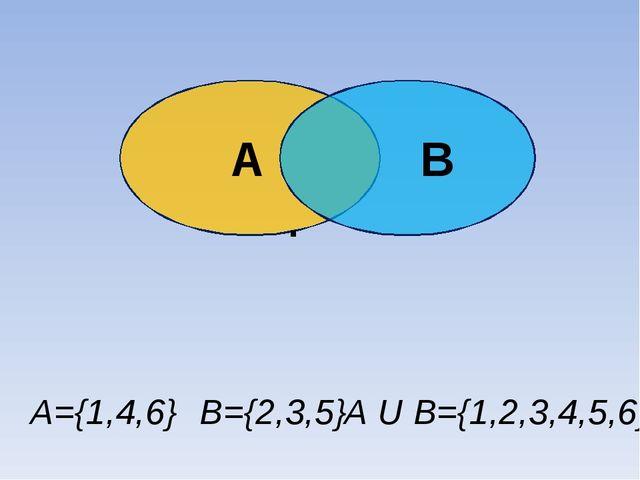 А В . Объединение А∪В А={1,4,6} В={2,3,5} А U В={1,2,3,4,5,6}