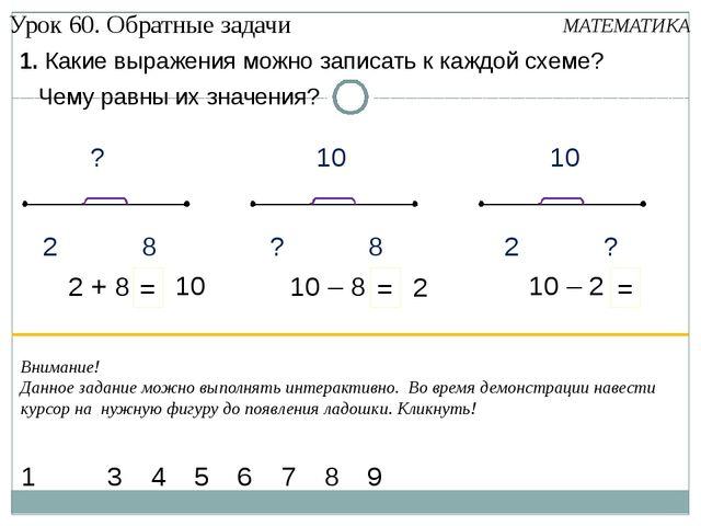 1. Какие выражения можно записать к каждой схеме? МАТЕМАТИКА 1 4 5 6 7 3 9 2...