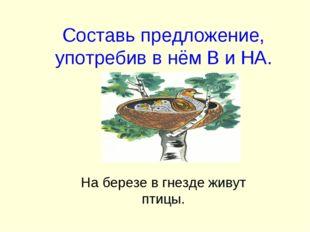 Составь предложение, употребив в нём В и НА. На березе в гнезде живут птицы.