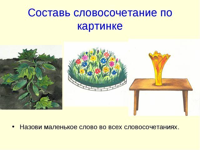 Составь словосочетание по картинке Назови маленькое слово во всех словосочета...