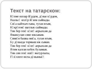 Текст на татарском: Күпме юллар йөрдем, дөнья күрдем, Назлы җилләр йөзем сыйп