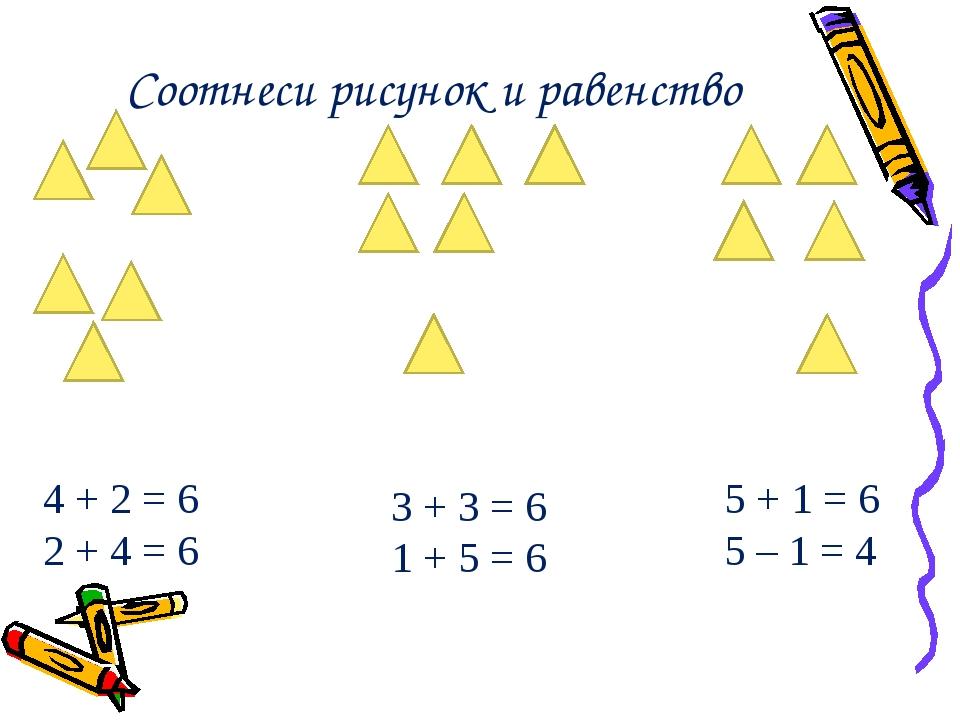 Соотнеси рисунок и равенство 4 + 2 = 6 2 + 4 = 6 3 + 3 = 6 1 + 5 = 6 5 + 1 =...