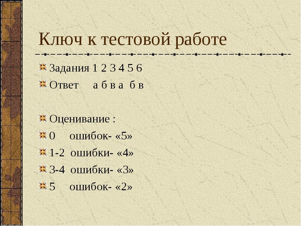 Ключ к тестовой работе Задания 1 2 3 4 5 6 Ответ а б в а б в Оценивание : 0 о...