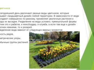 Виды цветников На сегодняшний день различают разные виды цветников, которые у