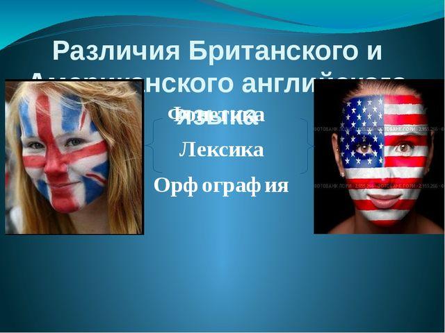 Различия Британского и Американского английского языка Фонетика Лексика Орфог...