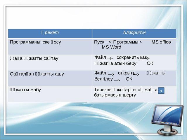 х Әрекет Алгоритм Программаны іске қосу ПускПрограммыMS office MS Word Жаңа...