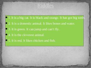 1. It is a big cat. It is black and orange. It has got big teeth. 2. It is a