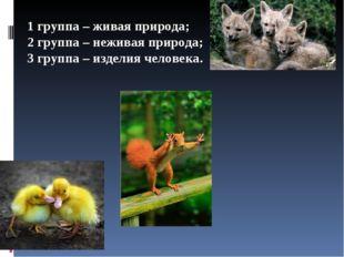 1 группа – живая природа; 2 группа – неживая природа; 3 группа – изделия чело