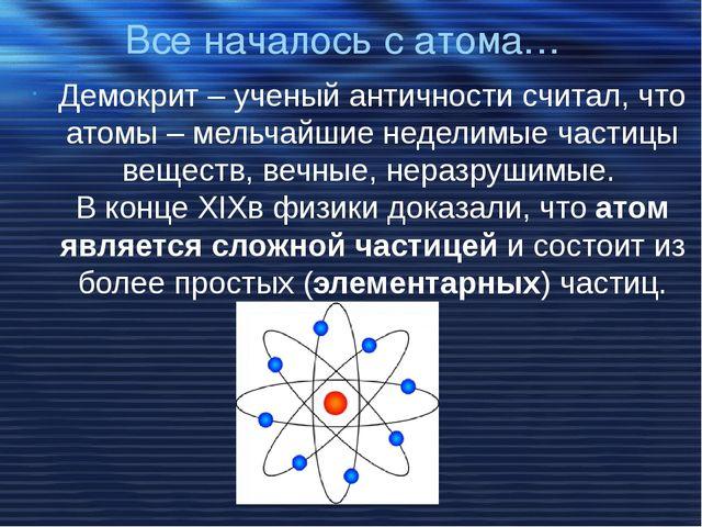 Все началось с атома… Демокрит – ученый античности считал, что атомы – мельча...