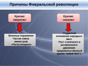 Причины Февральской революции Кризис «верхов» Кризис «низов» Военные поражен