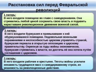 Расстановка сил перед Февральской революций 1 лагерь: В него входили помещик