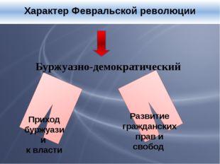 Характер Февральской революции Буржуазно-демократический Приход буржуазии к