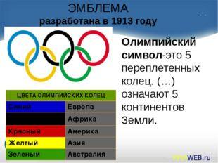 ЭМБЛЕМА разработана в 1913 году Олимпийский символ-это 5 переплетенных колец.