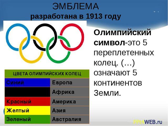 ЭМБЛЕМА разработана в 1913 году Олимпийский символ-это 5 переплетенных колец....