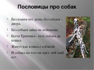 Пословицы про собак Без кошки нет дома, без собаки - двора. Без собаки зайца