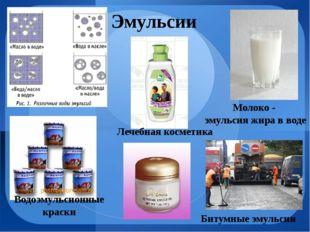 Молоко - эмульсия жира в воде Эмульсии Битумные эмульсии Лечебная косметика В