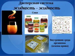 Дисперсная система жидкость - жидкость Соки Внутренняя среда организма (плазм