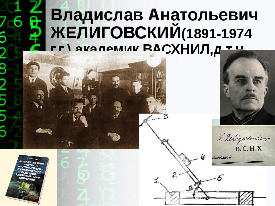 Владислав Анатольевич ЖЕЛИГОВСКИЙ(1891-1974 г.г.),академикВАСХНИЛ,д.т.н...
