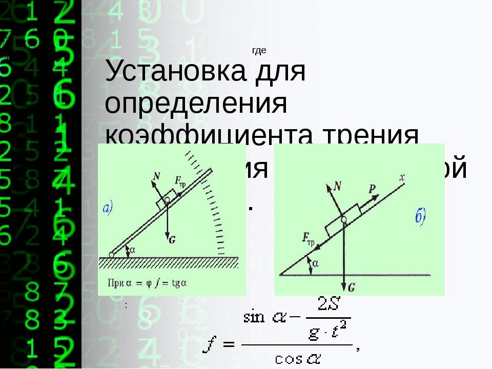 Установка для определения коэффициента трения скольжения на наклонной плоскос...