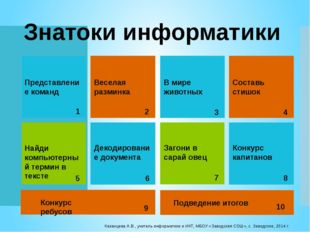 Казанцева А.В., учитель информатики и ИКТ, МБОУ «Заводская СОШ», с. Заводское