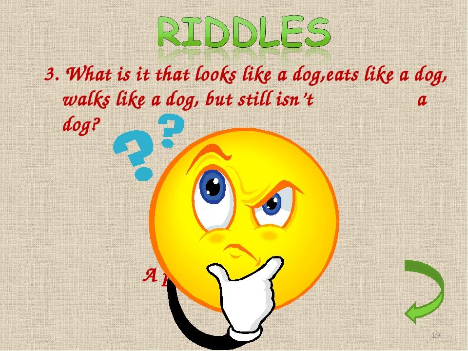 3. What is it that looks like a dog,eats like a dog, walks like a dog, but st...