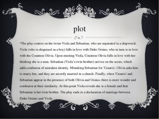 plot The play centres on the twins Viola and Sebastian, who are separated in