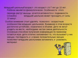 Младший школьный возраст- это возраст с 6-7 лет до 10 лет. Ребёнок меняется ф