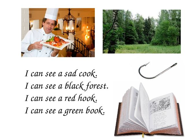 I can see a sad cook. I can see a black forest. I can see a red hook. I can s...