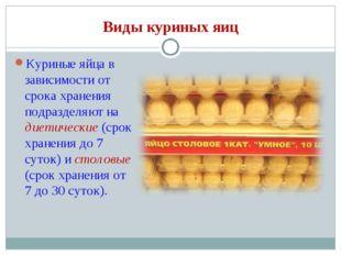 Виды куриных яиц Куриные яйца в зависимости от срока хранения подразделяют на