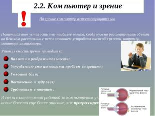2.2. Компьютер и зрение На зрение компьютер влияет отрицательно Потенциальная