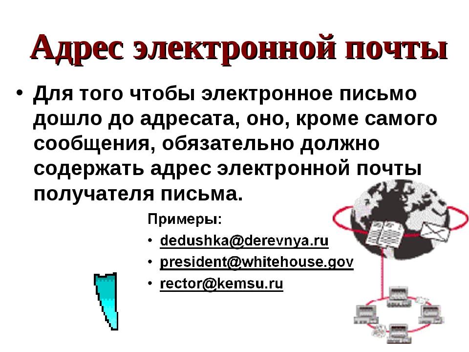 Адрес электронной почты Для того чтобы электронное письмо дошло до адресата,...