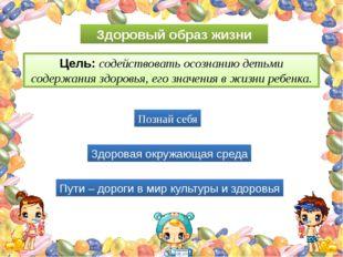 Здоровый образ жизни Цель: содействовать осознанию детьми содержания здоровья