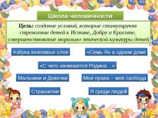 Школа человечности Цель: создание условий, которые стимулируют стремление дет