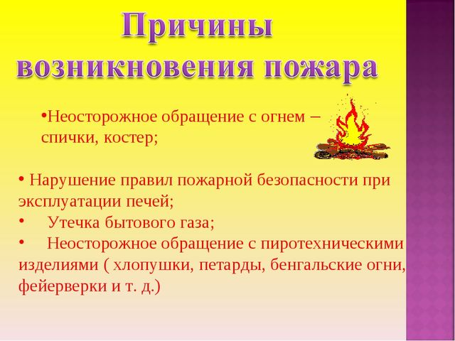 Неосторожное обращение с огнем – спички, костер; Нарушение правил пожарной б...