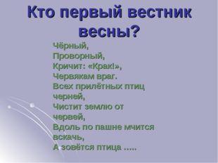 Кто первый вестник весны? Чёрный, Проворный, Кричит: «Крак!», Червякам враг.