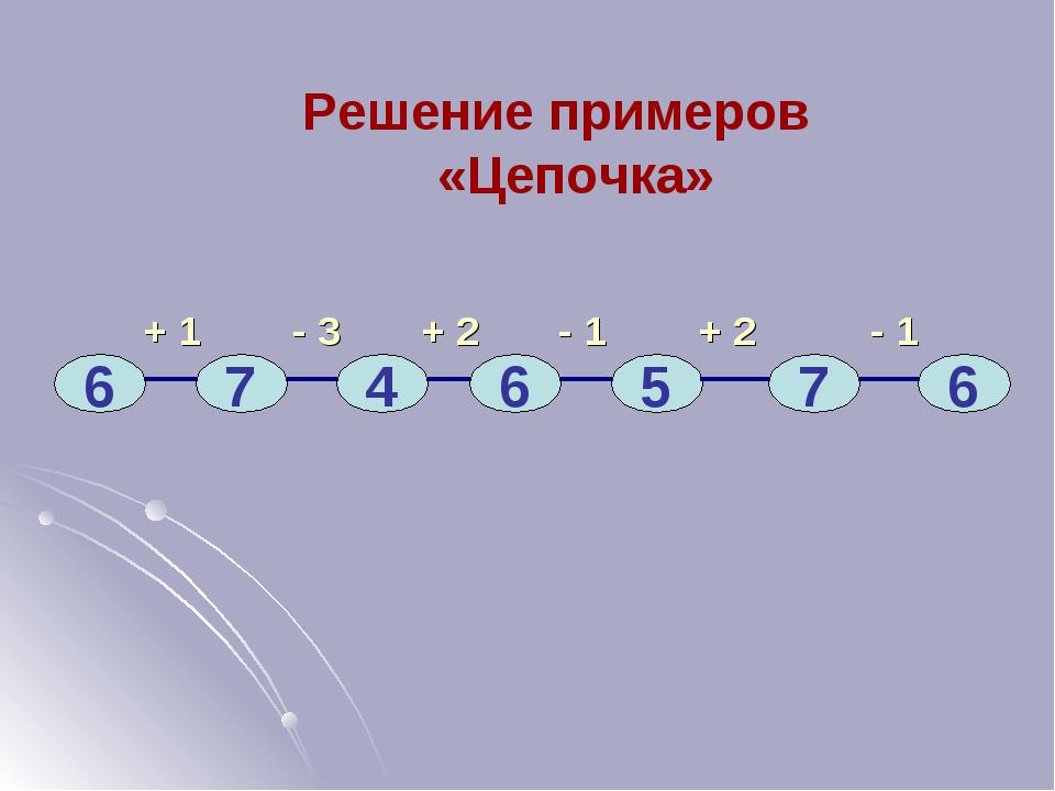 + 1 - 3 + 2 - 1 + 2 - 1 6 7 4 6 5 7 6 Решение примеров «Цепочка»