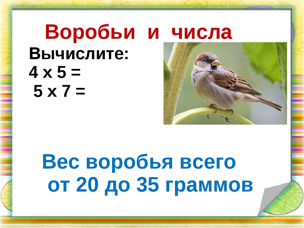 Воробьи и числа Вес воробья всего от 20 до 35 граммов Вычислите: 4 х 5 = 5 х...