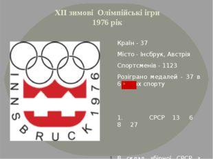 ХІІ зимові Олімпійські ігри 1976 рік Країн - 37 Місто - Інсбрук, Австрія Спор