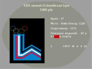 ХІІІ зимові Олімпійські ігри 1980 рік Країн - 37 Місто - Лейк-Плесід, США Спо